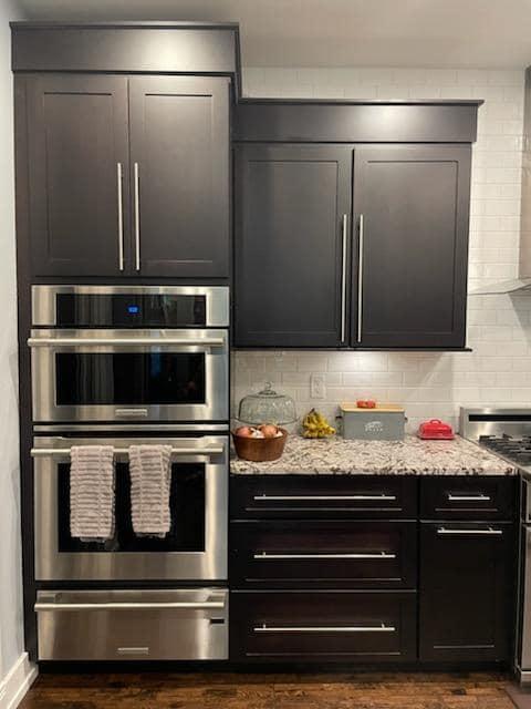 dark colored kitchen cabinet refinishing