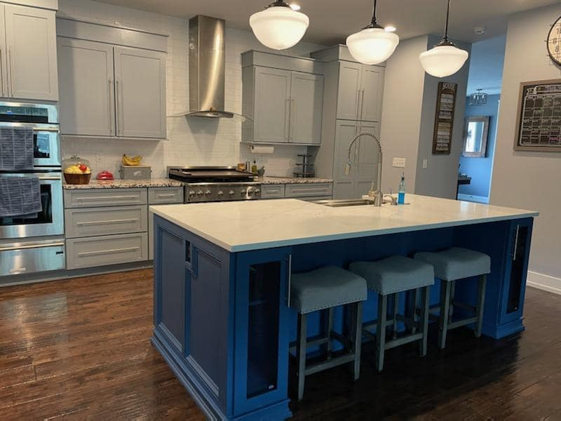 grey kitchen cabinet refinishing